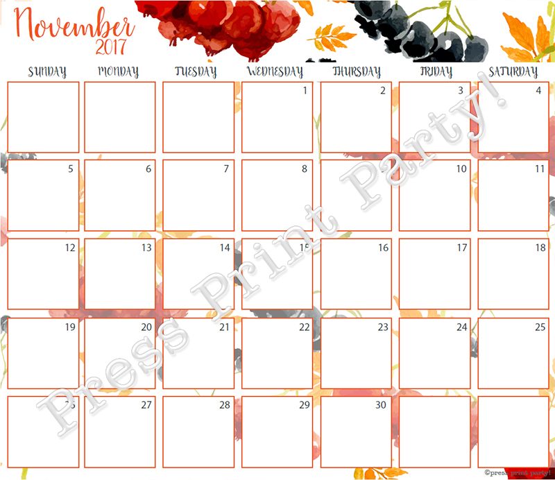 Calendar Bullet Journal : Calendar printable for bullet journals watercolor