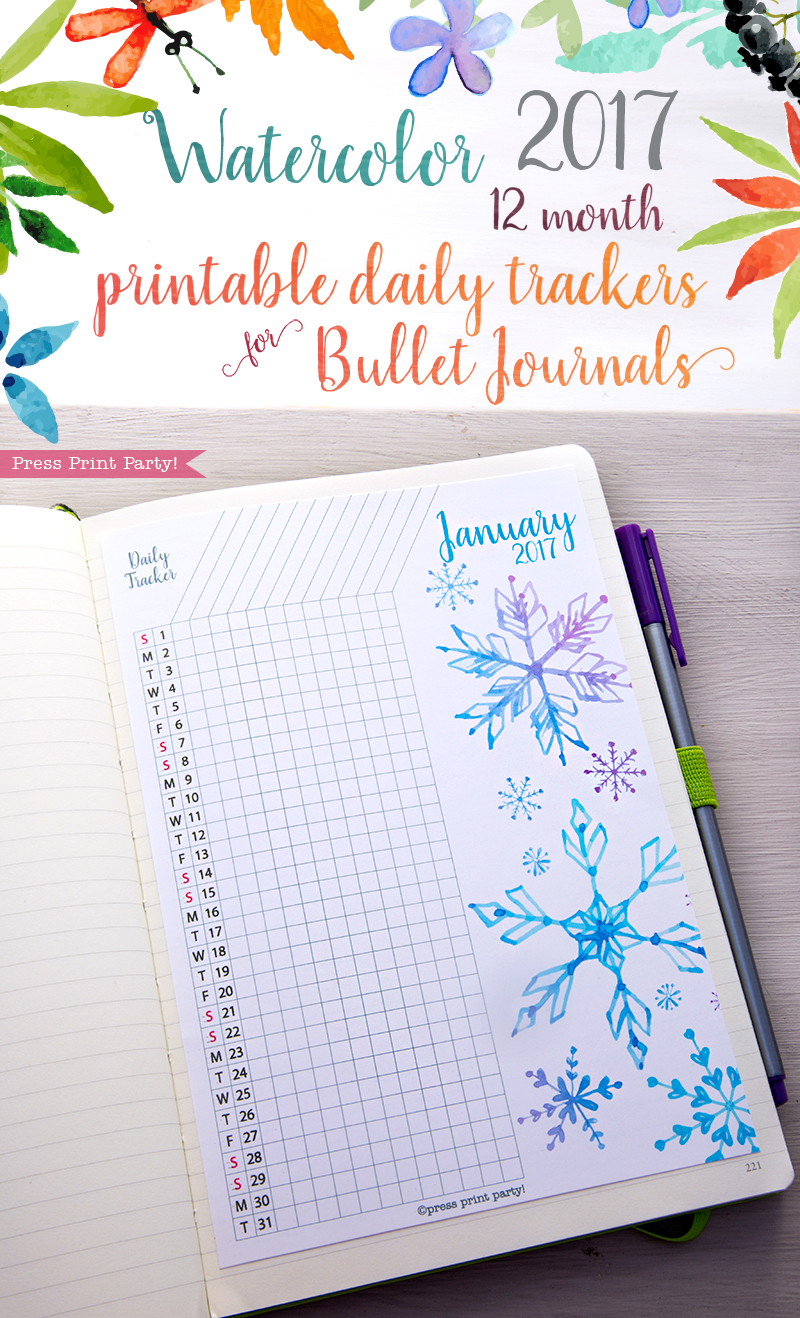 2017 Daily Task Tracker for Bullet Journals - Watercolors - by Press Print Party!
