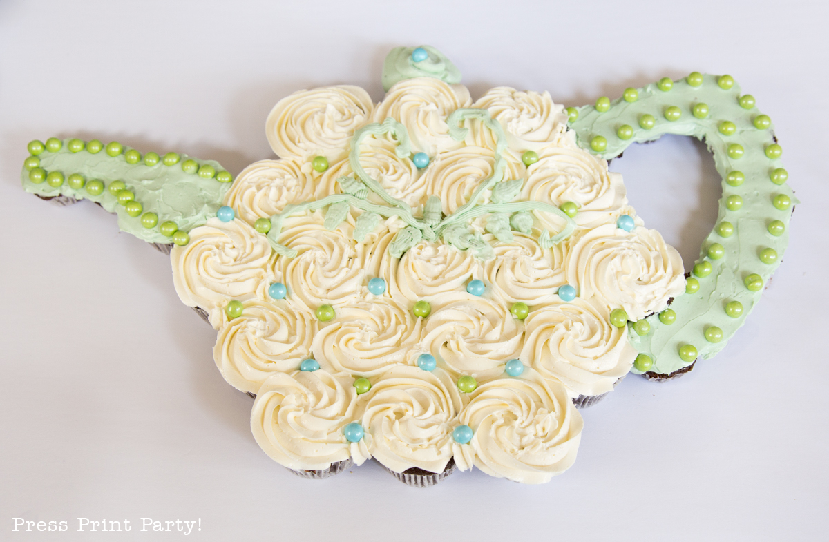 Free Teapot Cupcake Cake Template and Tutorial