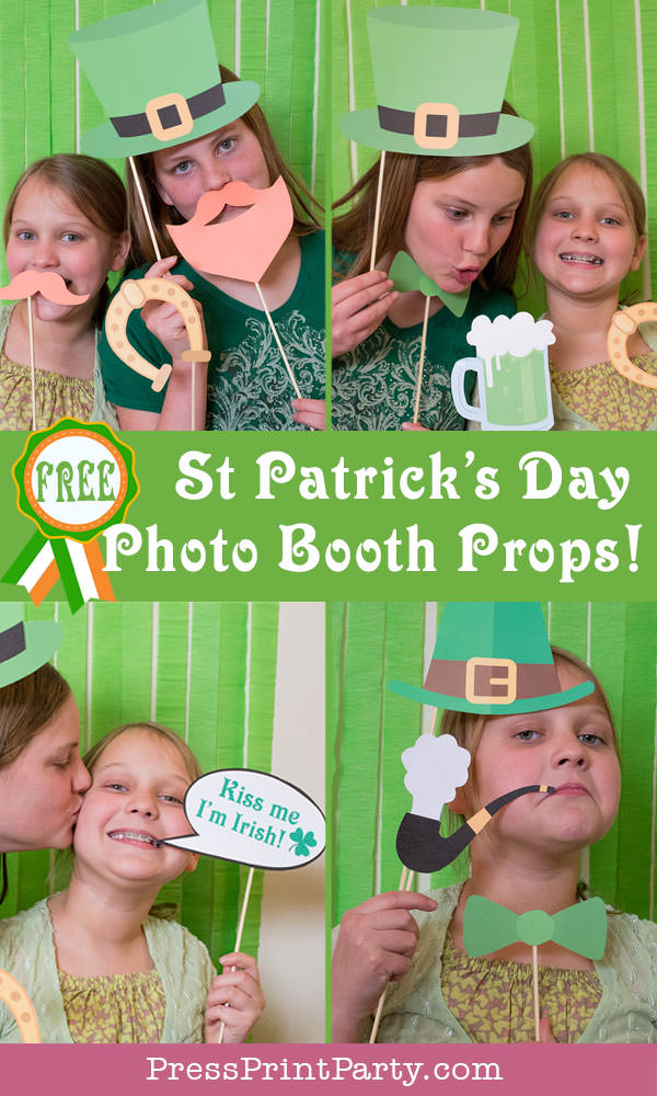 St. Patrick's day free photo booth props printables. Leprechaun hat, green beer, kiss me I'm Irish, mustache, red beard, pipe, green neck tie, horseshoe. by Press Print Party!
