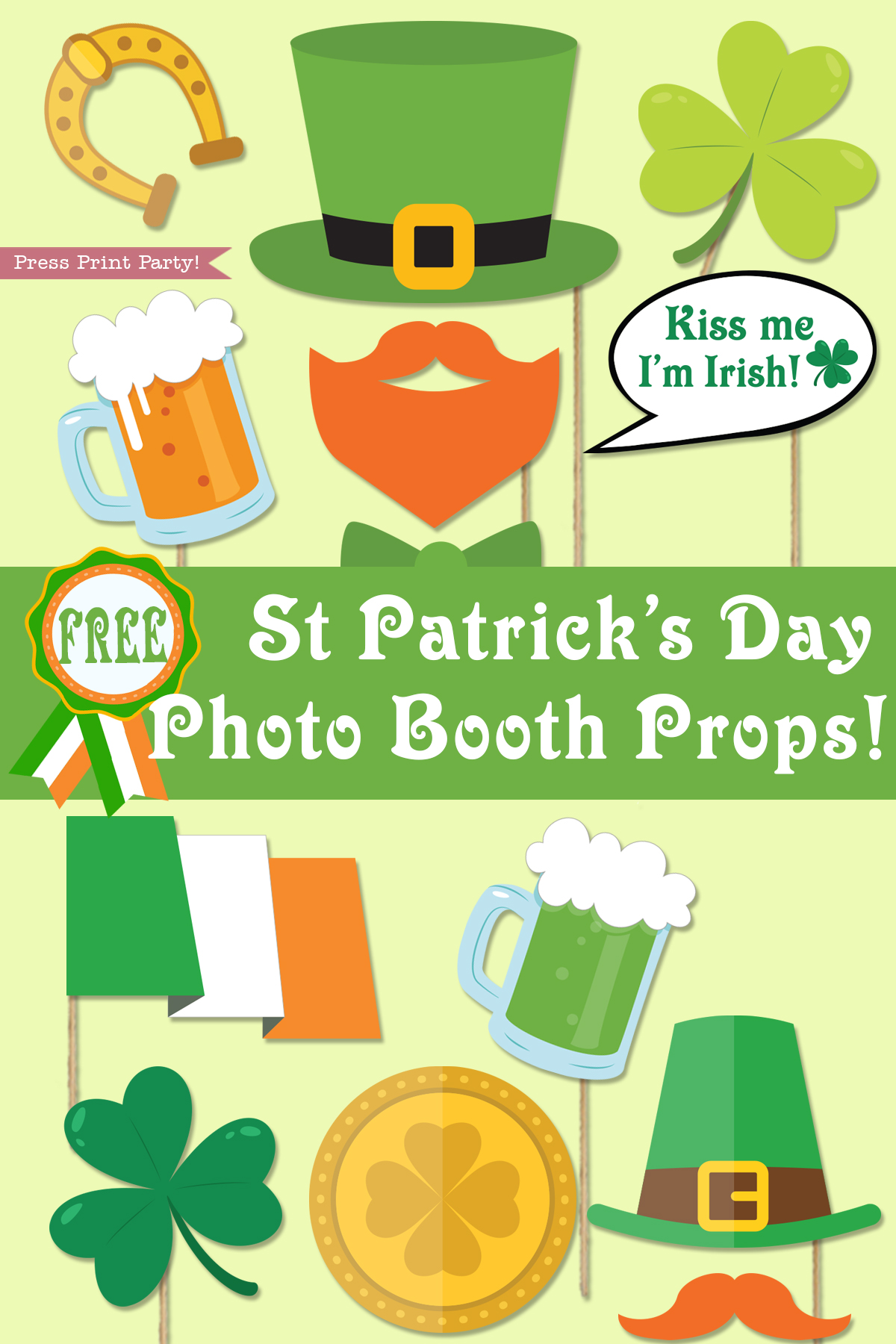 graphic relating to Printable Props named St. Patricks Working day Picture Booth Props Absolutely free Printable - Push