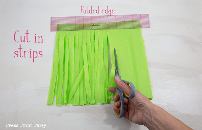 cut fringes- tissue paper garland tutorial Press Print Party!
