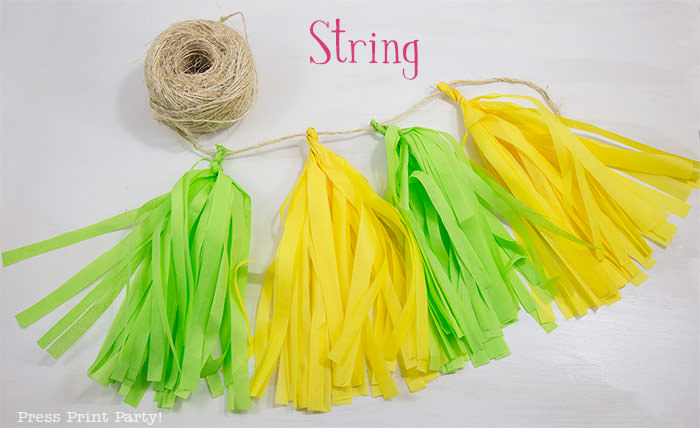 Colorful Tissue paper tassels garlands diy how to make tassels garland. Press Print Party!