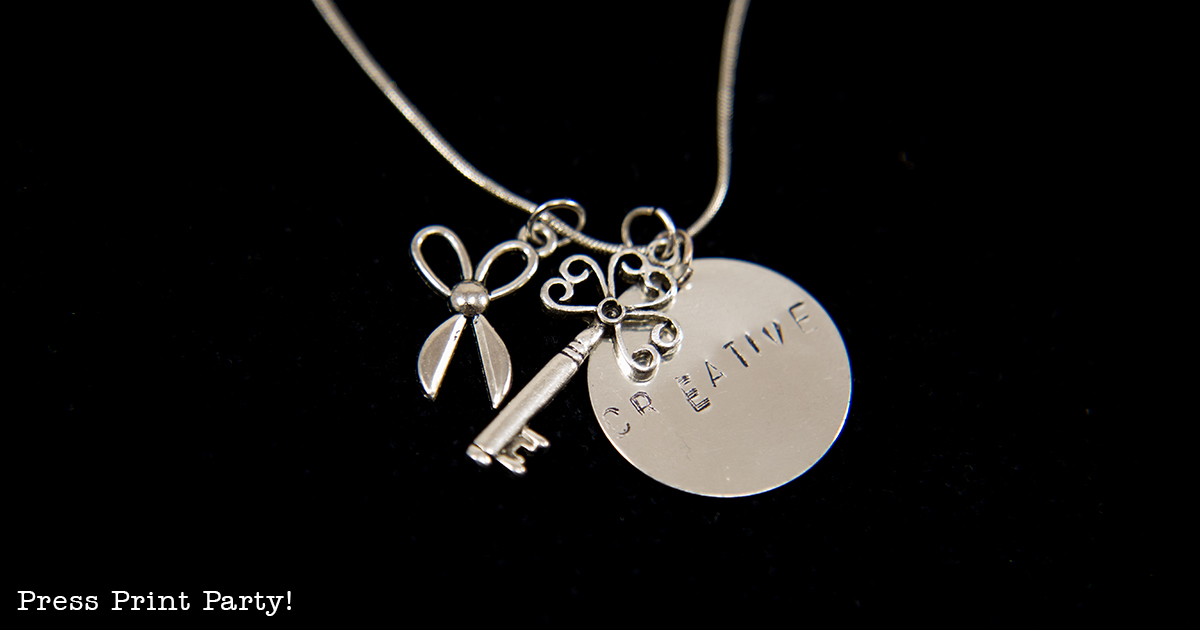 An Inspirational Mother Daughter Date She'll Treasure Forever Beautiful Inside and Out- By Press Print Party! Silver Punched Charm - Charm with punched letters