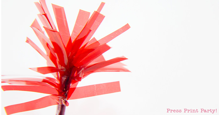Finished tassel cupcake toppers.