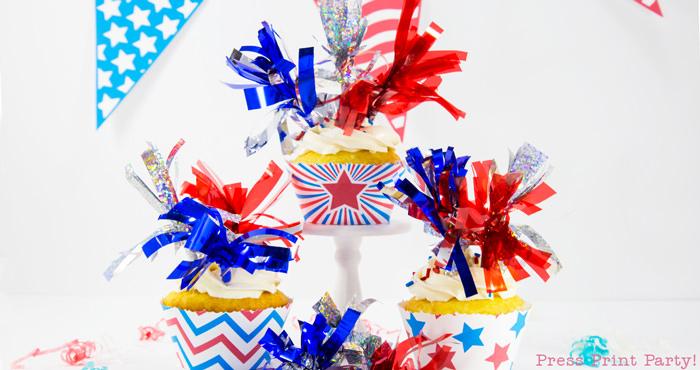 3 free patriotic printable cupcakes with fireworks tassels toppers
