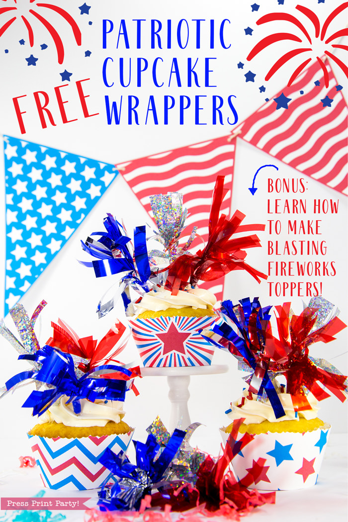 Patriotic cupcake wrapper with red star and 3 tassel toppers in red silver and blue. Free wrapper and topper DIY