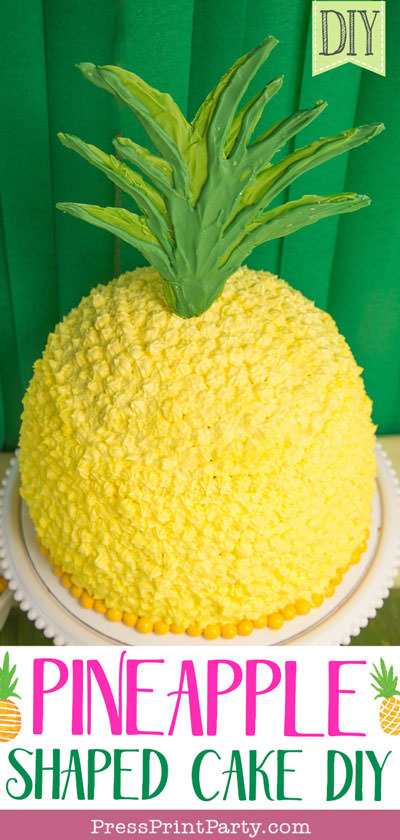 Pineapple shaped cake with yellow frosting and candy melt top - DIY -Press Print Party!