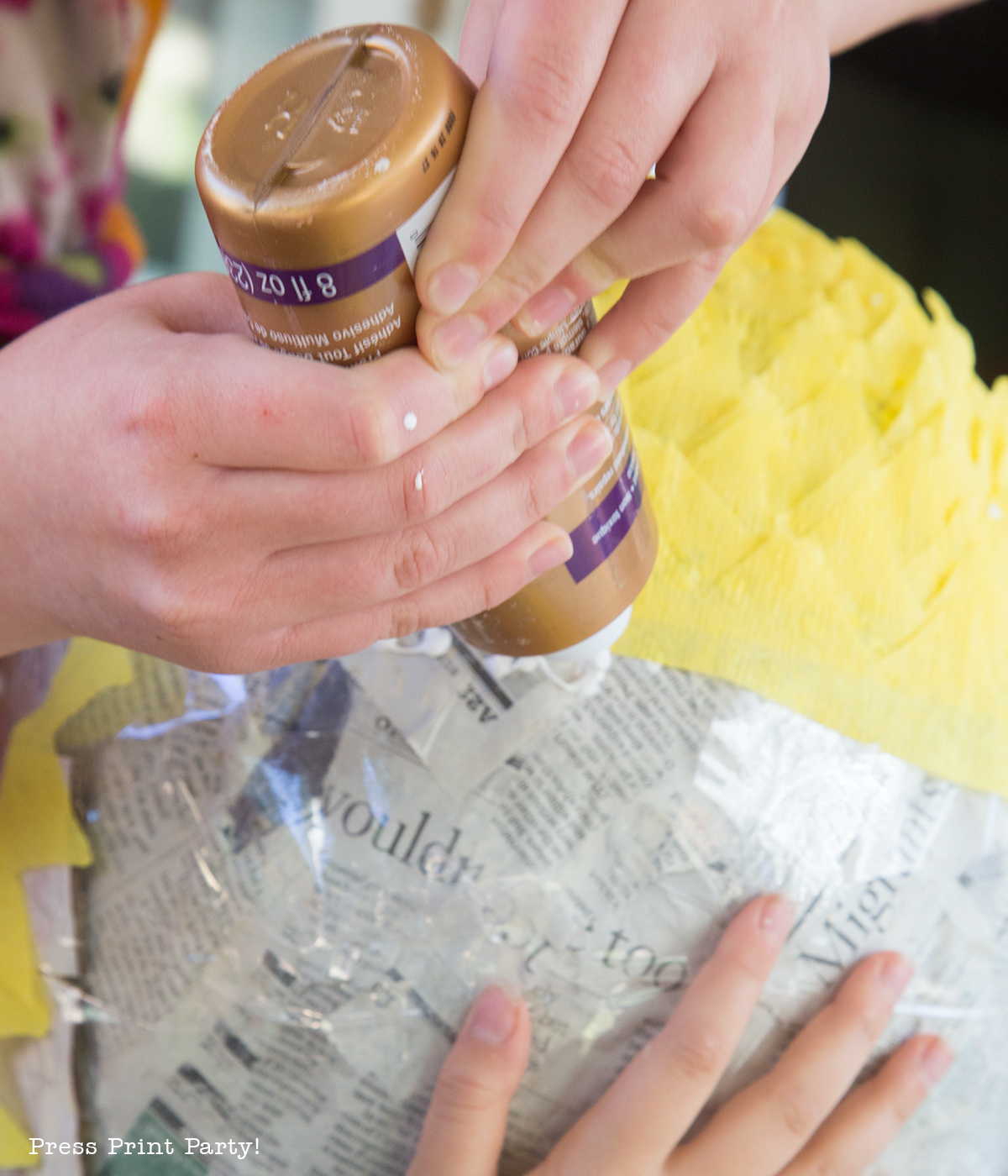 Pineapple Pinata Tutorial. How to make a pineapple pinata. By Press Print Party!