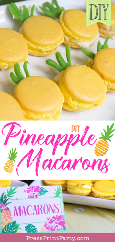 Pineapple Macarons diy full instructions with candy melt tops and luau place card