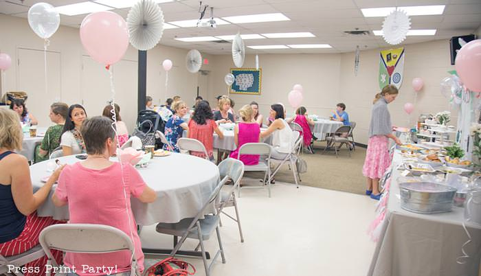 pink vintage baby shower ideas - Press Print Party! buffet