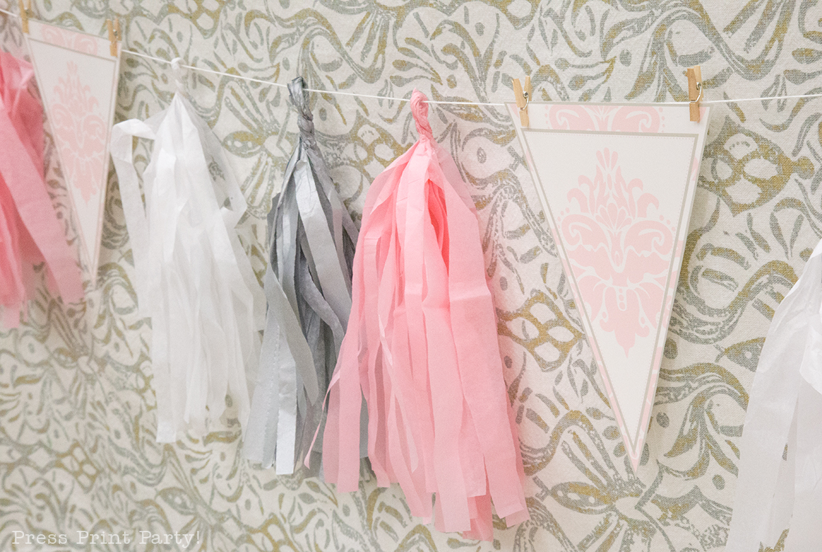 Sweet Vintage Baby Shower Decorations - By Press Print Party! paper tassels in pink and grey