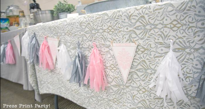 pink vintage baby shower ideas - Press Print Party! Pink, gray and white tassels