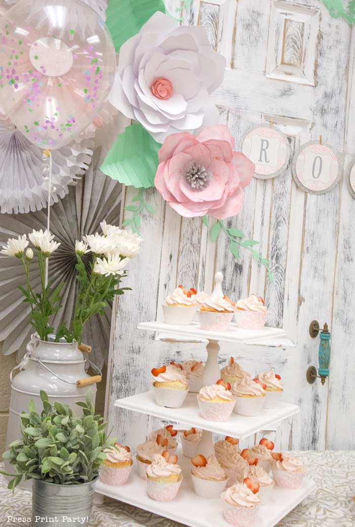 Sweet Pink Vintage Baby Shower Decorations - By Press Print Party!