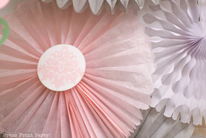 pink vintage baby shower ideas - Press Print Party! Pink fans and white fans
