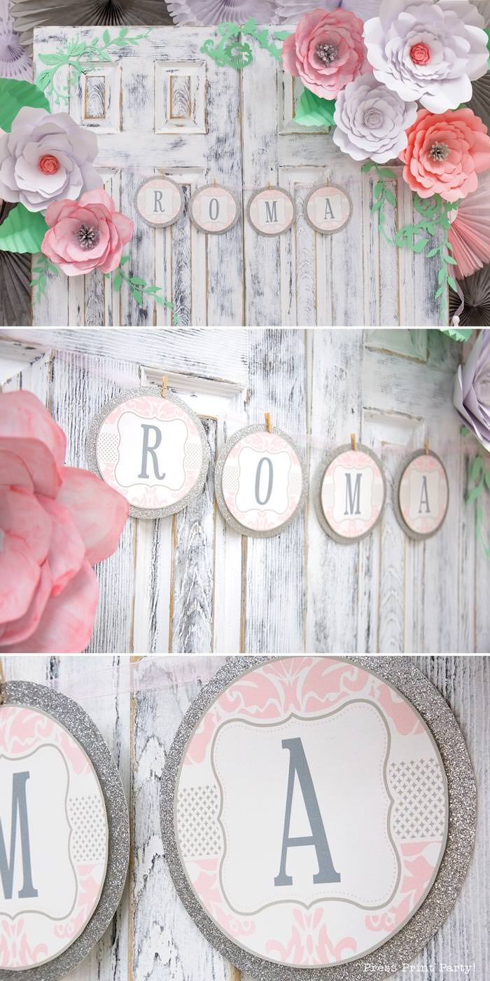 pink vintage baby shower ideas - Press Print Party! baby shower banner damask pink and grey