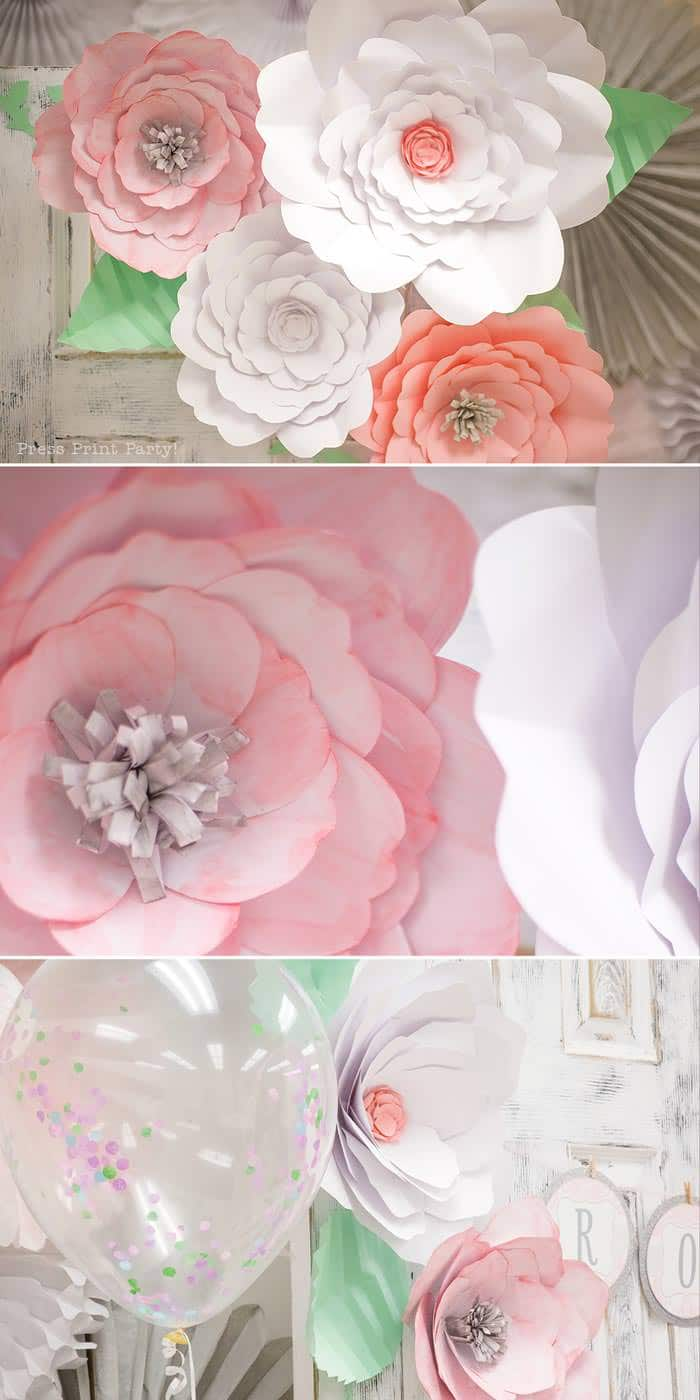 pink vintage baby shower ideas - Press Print Party! Baby shower paper flowers how to pink and white