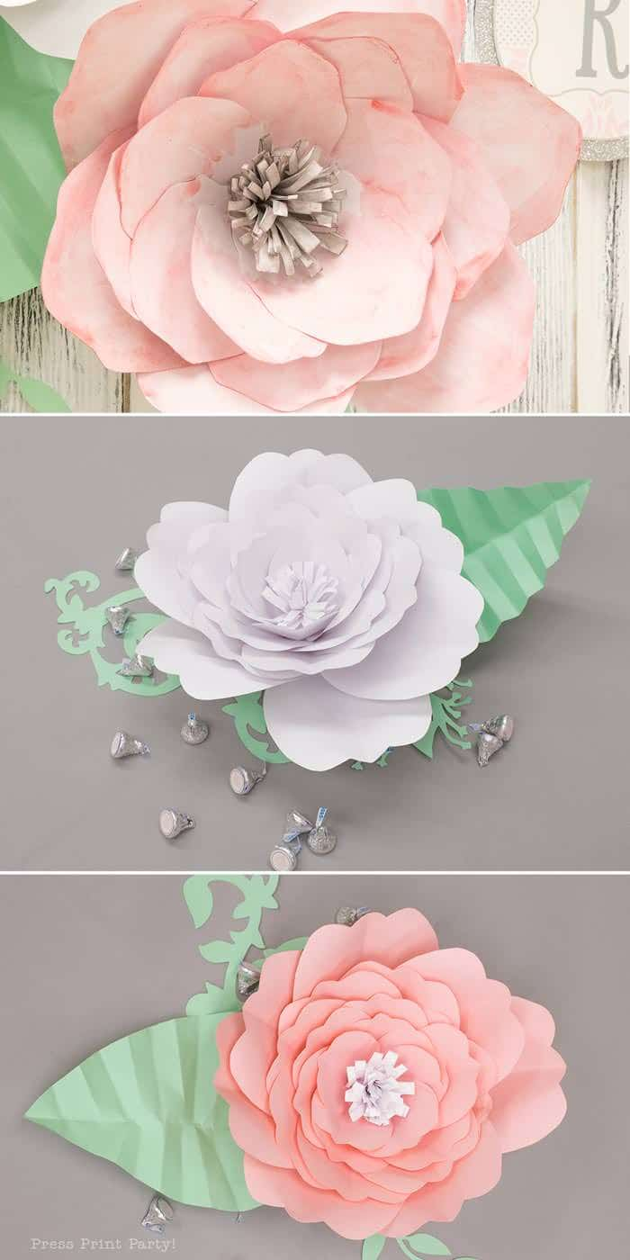 pink vintage baby shower ideas - Press Print Party! pink and white paper flowers