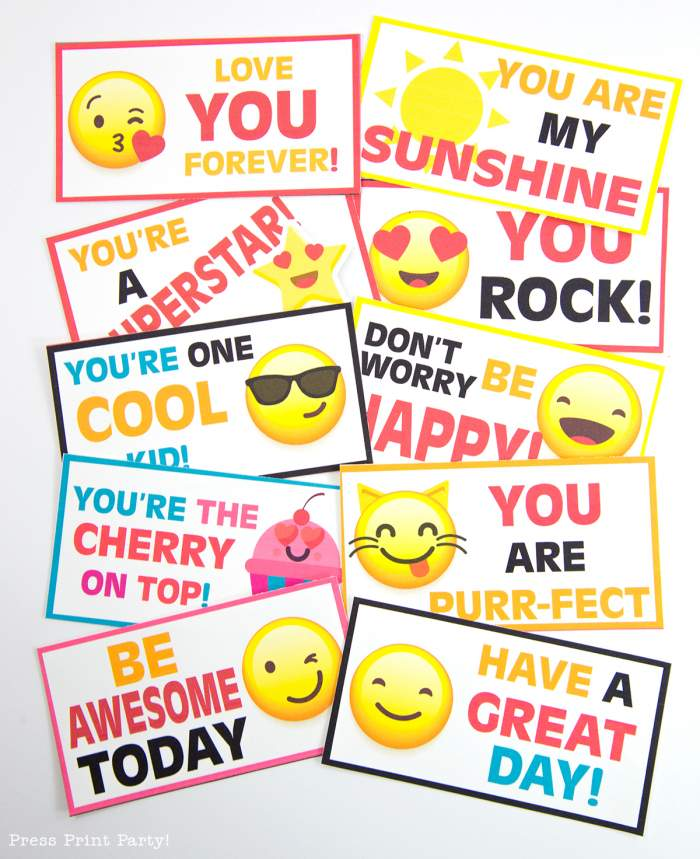 Free Emojis Lunch Box Cards by Press Print Party!