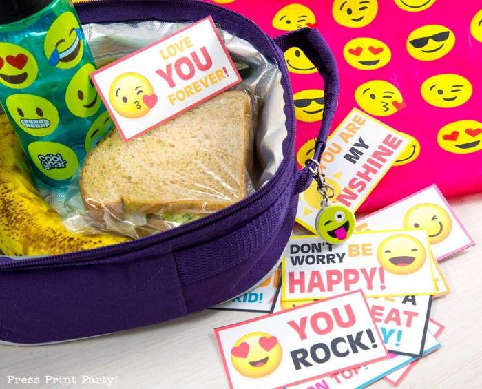 Free Emojis Lunch Box Cards Printable