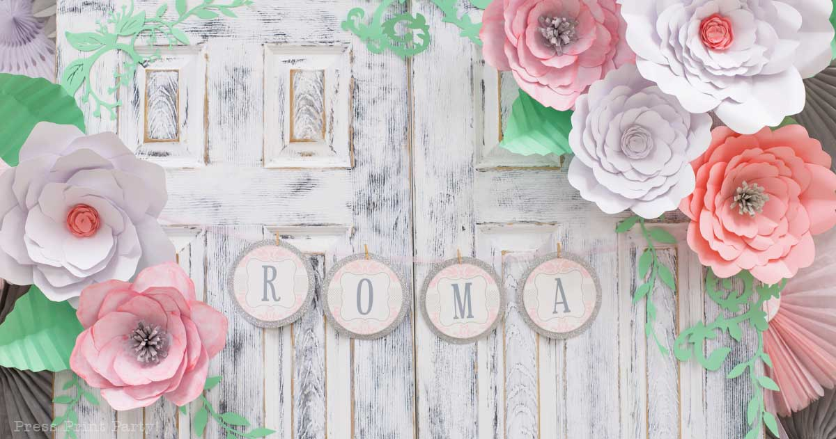 pink vintage baby shower ideas - Press Print Party! baby shower banner with damask design pink and white paper flowers