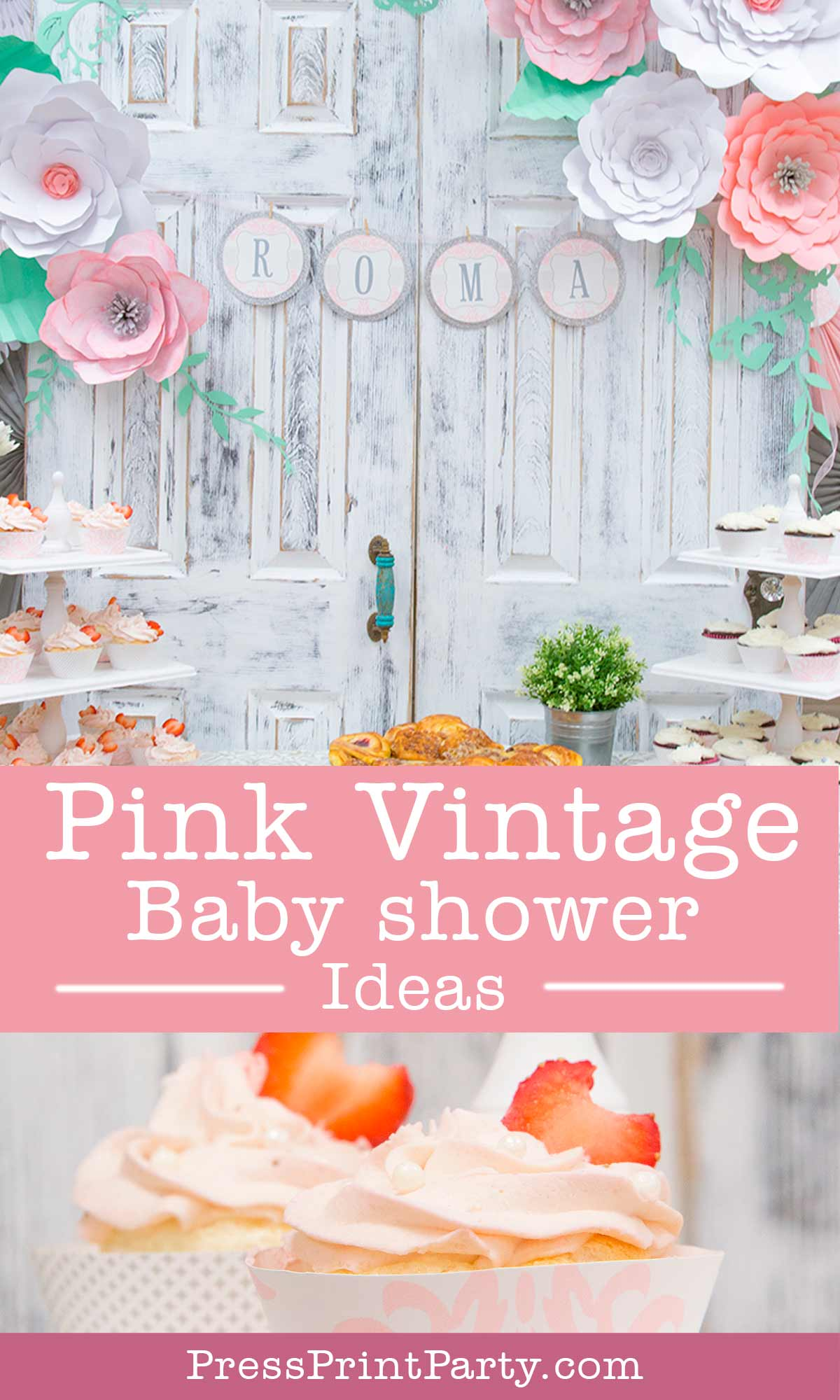 Pink vintage baby shower rustic baby shower ideas - Press Print Party!