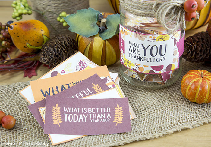 Free Thanksgiving printable conversation cards for Thanksgiving dinner activity. Game for Thanksgiving. free printable Thanksgiving ideas for dinner. What to do at Thanksgiving dinner. With questions to boost conversation. Fall leaves design. Put them in a jar with label. Press Print Party! What are you thankful for? What is better today then a year ago?