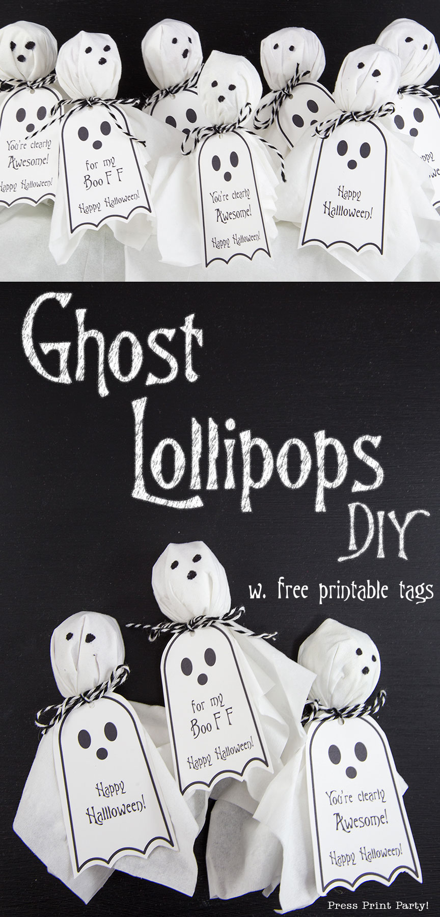 Ghost Lollipops W Free Halloween Printable Tags By Press