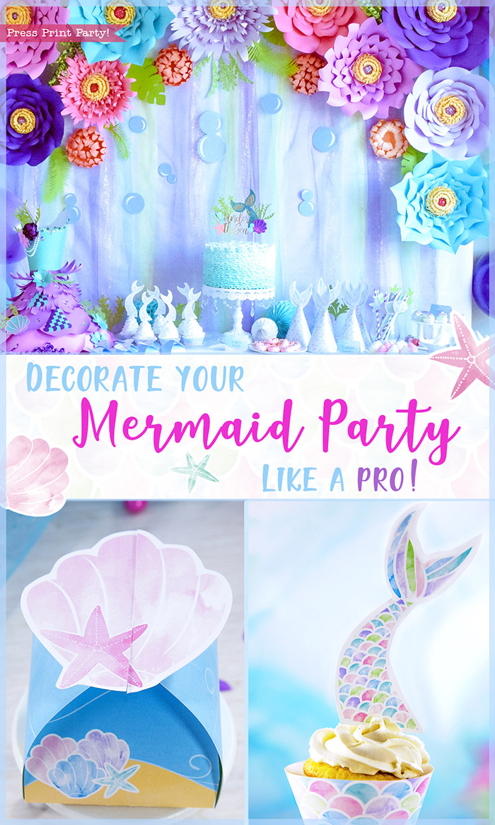 Decorate your Mermaid Party like a Pro! by Press Print Party! Mermaid Themed party - Mermaid party supplies