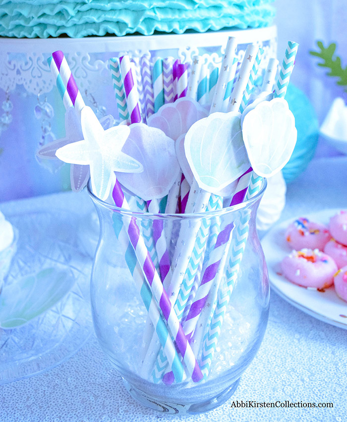Decorate your Mermaid Party like a Pro! by Press Print Party! Mermaid Themed party - Mermaid party supplies - mermaid straws - mermaid printables