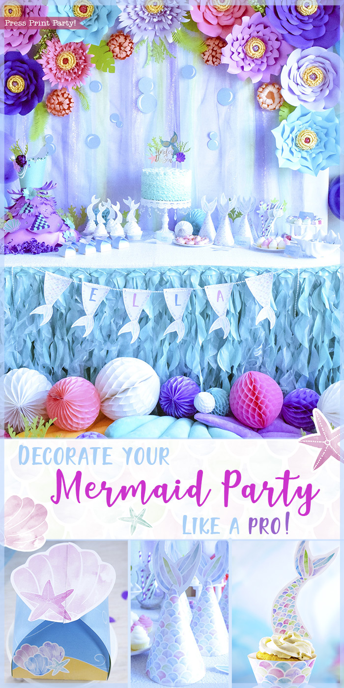 Decorate your Mermaid Party like a Pro! by Press Print Party! Mermaid Theme - Mermaid party ideas -supplies