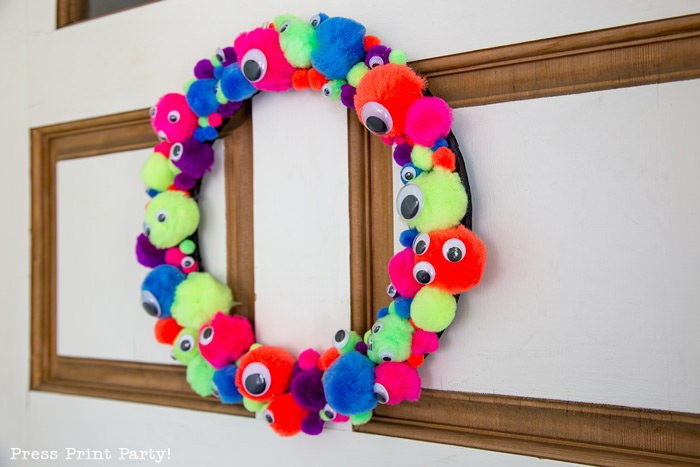 Easy and Fun Monster Wreath DIY by Press Print Party!