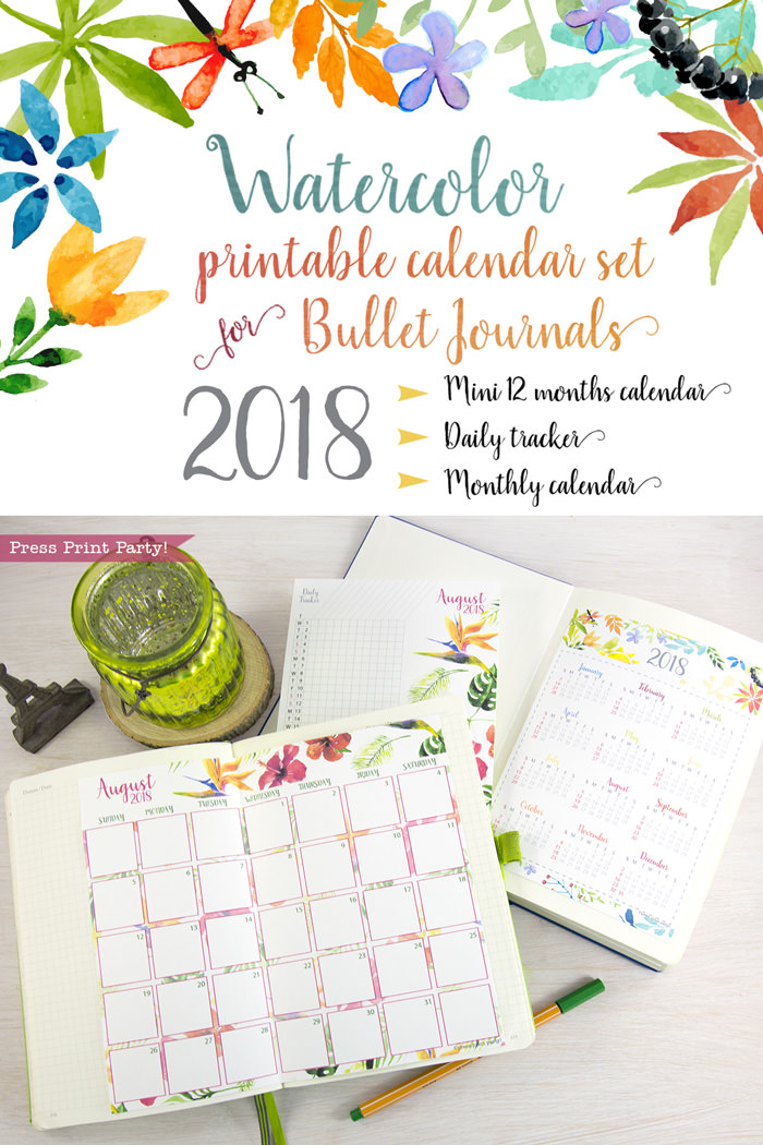 2018 Calendar for Bullet Journal - Press Print Party