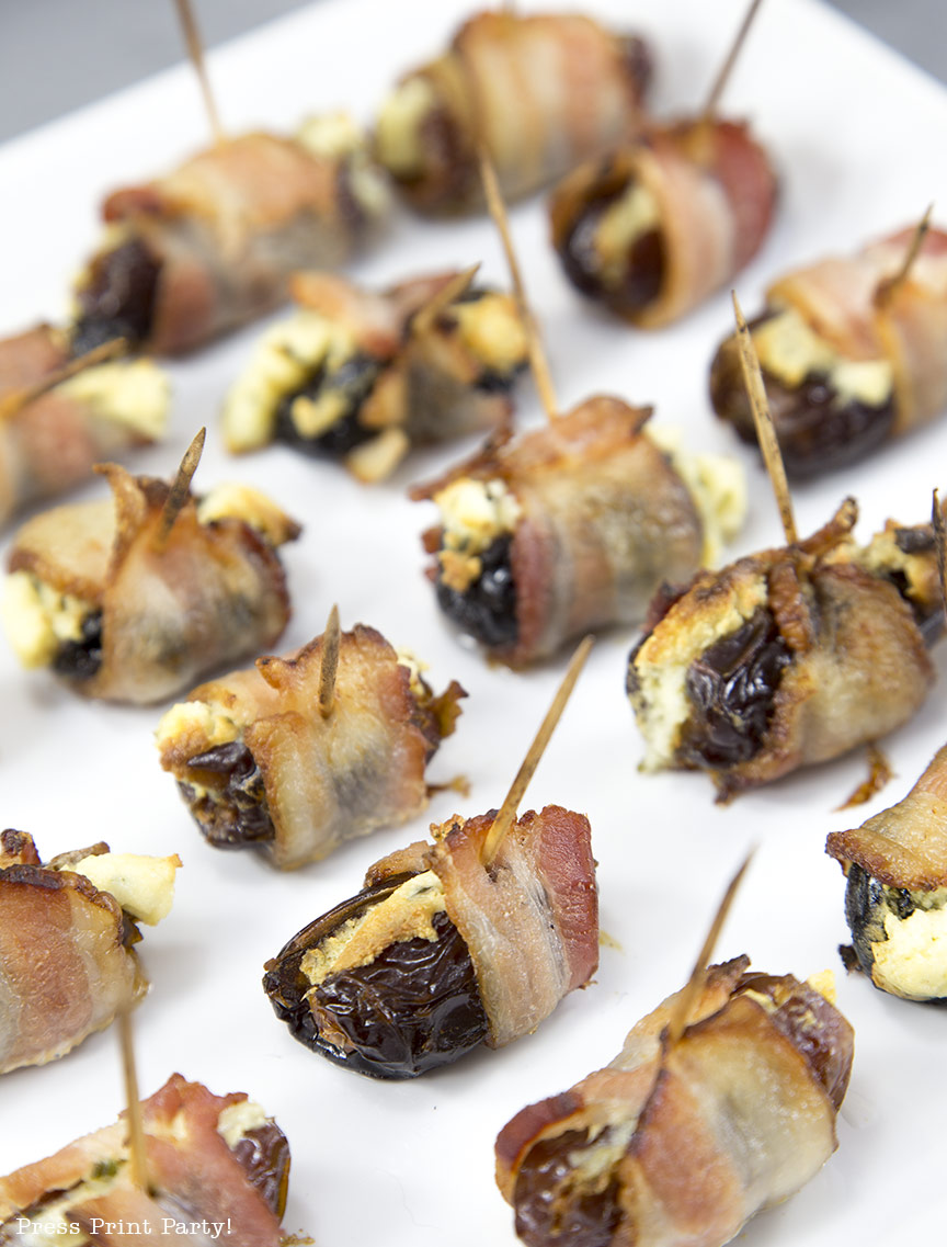 Bacon Wrapped Dates and Prunes w. Boursin - Press Print Party!