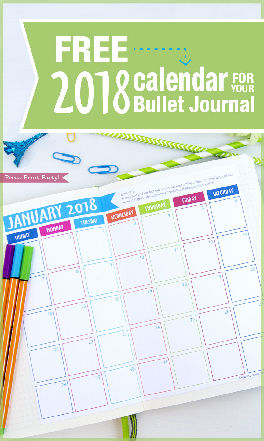 Calendar Bullet Journal 2018 : Free calendar for you bullet journal by press print