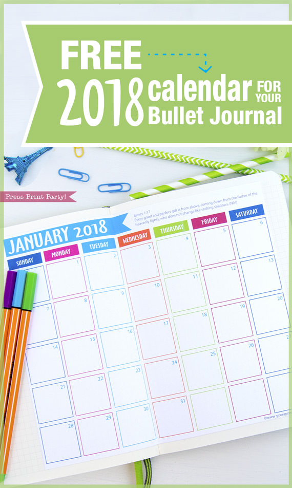 FREE 2018 Calendar for Bullet Journals - 2018 Monthly Calendar - By Press Print Party!