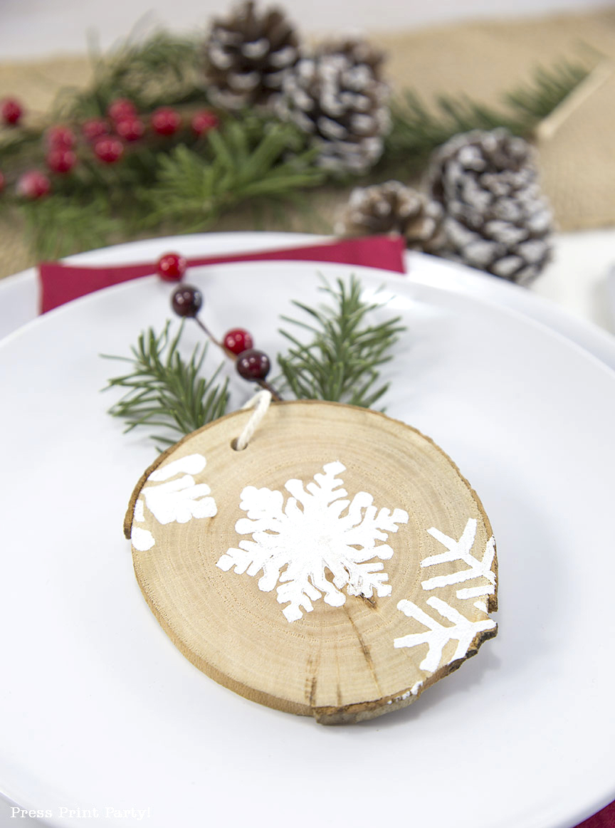 Rustic Wood Snowflake Ornament DIY - By Press Print Party!