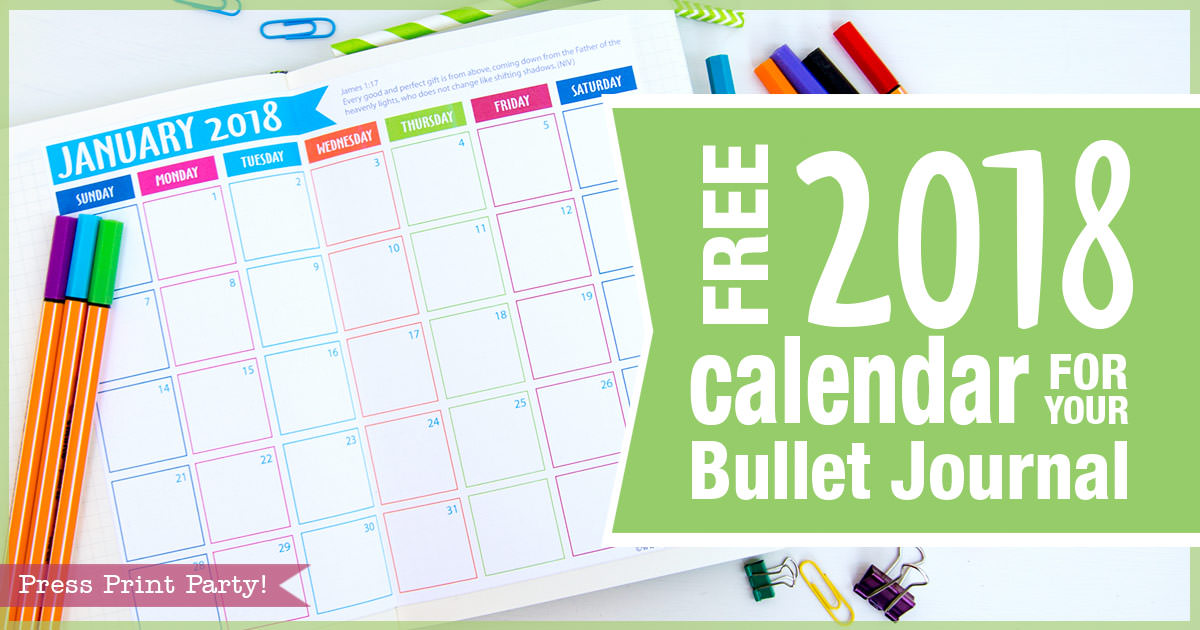 FREE 2018 Calendar for your Bullet Journal - By Press ...