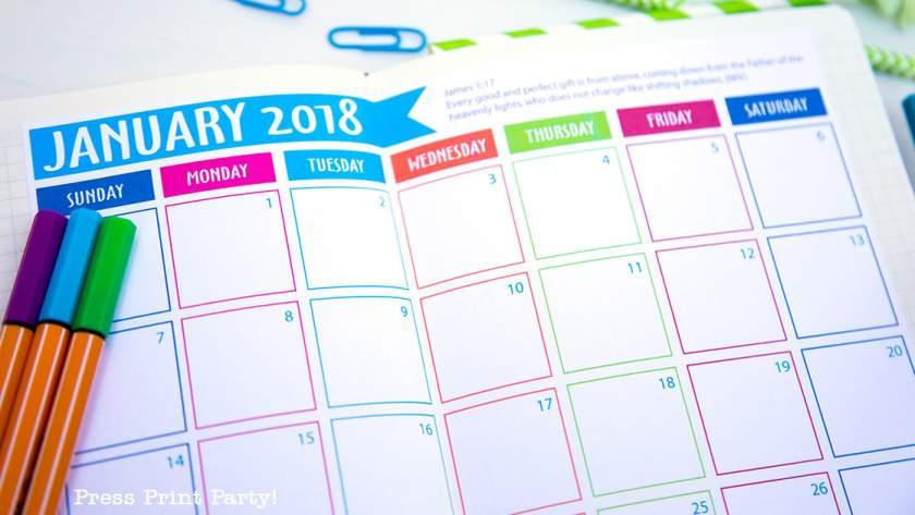 FREE 2018 Calendar for your Bullet Journal