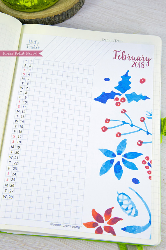 Calendar Bullet Journal 2018 : Calendar set bullet journals printable watercolor