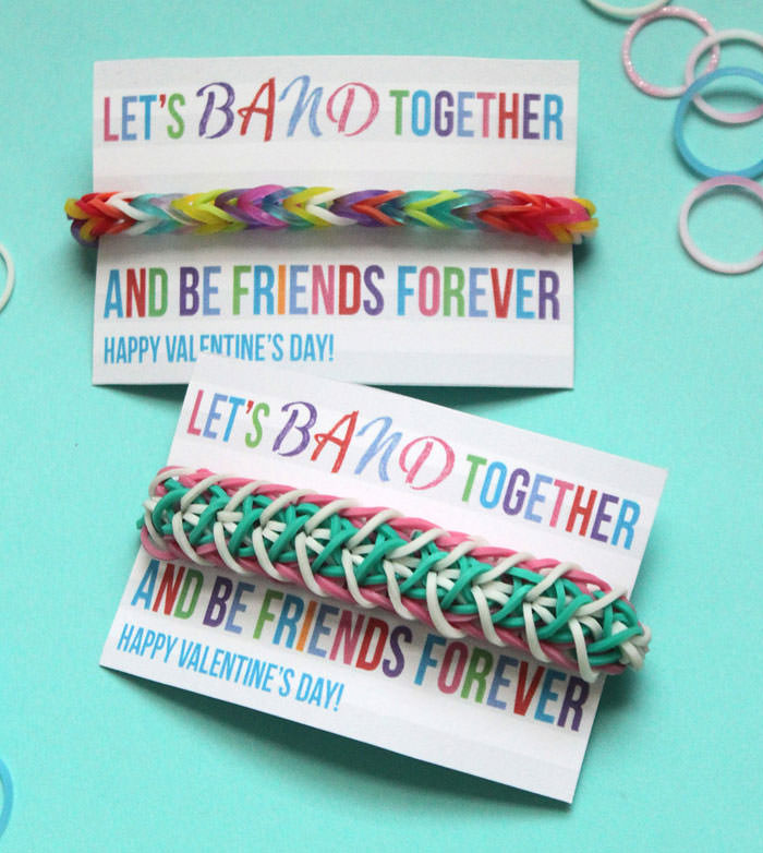 35 Easy No-Candy Valentines with Free Printables by Category - Curated by Press Print Party! rainbow loom bracelet with printable card for girls