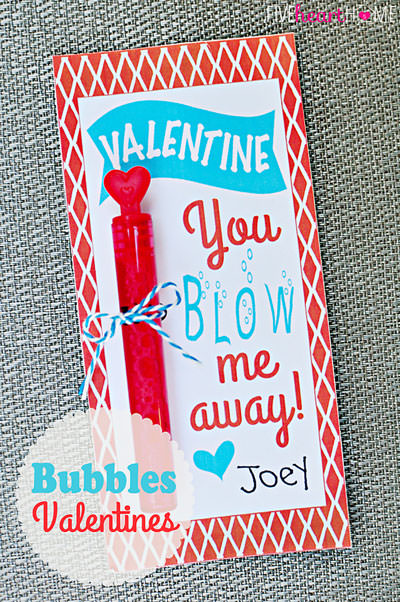 35 Easy No-Candy Valentines with Free Printables by Category - Curated by Press Print Party! bubbles printable valentine for school