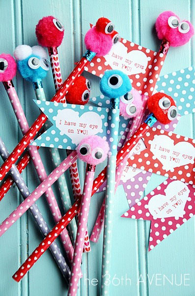 35 Easy No-Candy Valentines with Free Printables by Category - Curated by Press Print Party! - monster pencils with valentines printable tags flags