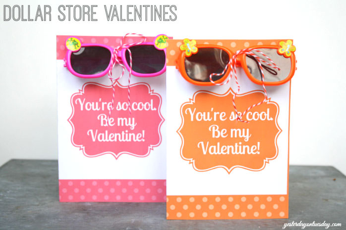 35 Easy No-Candy Valentines with Free Printables by Category - Curated by Press Print Party! sunglasses printable card from dollar store for school classmates