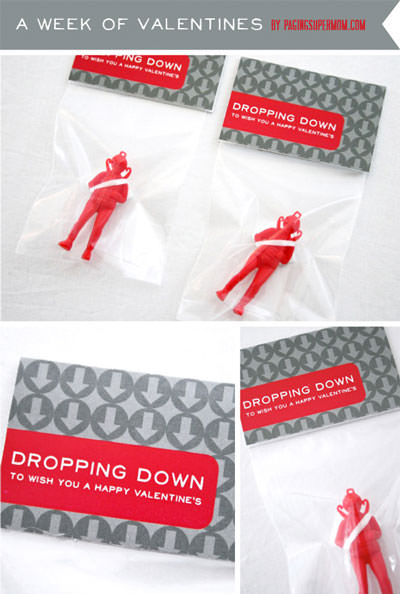 35 Easy No-Candy Valentines with Free Printables by Category - Curated by Press Print Party! parachute man valentine for boys dropping down