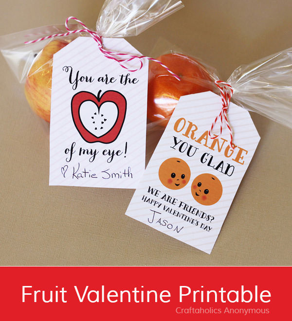 35 Easy No-Candy Valentines with Free Printables by Category - Curated by Press Print Party! fruit valentines labels. orange cuties and apple healthy treat for school