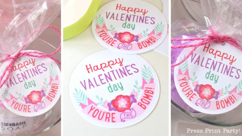 FREE Valentine's Day Bath Bombs Printable Tags