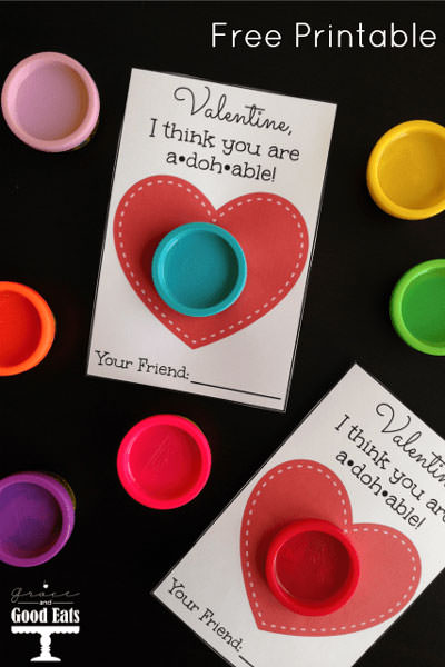 35 Easy No-Candy Valentines with Free Printables by Category - Curated by Press Print Party! play doh valentine for preschool classroom