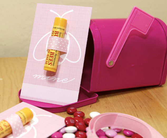 35 Easy No-Candy Valentines with Free Printables by Category - Curated by Press Print Party! burts bee lip balm pink bee