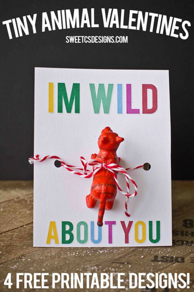 35 Easy No-Candy Valentines with Free Printables by Category - Curated by Press Print Party! I'm wild about you with a red tiger valentine printable. for boys great for classmates
